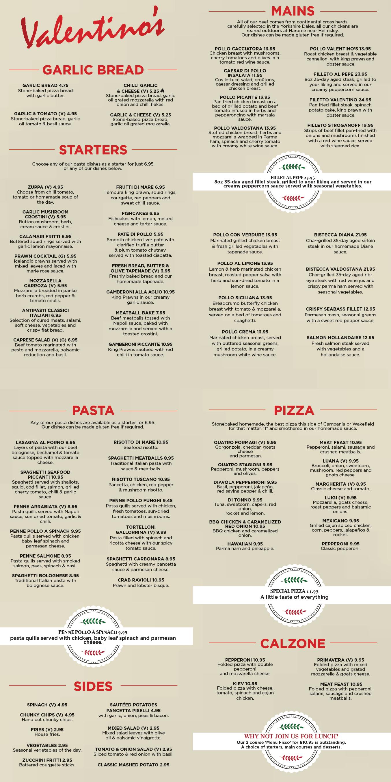 Main Menu Valentinos Italian Restaurant In Wakefield